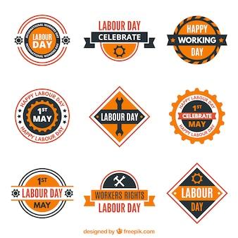 Collection du travail plat badge jour
