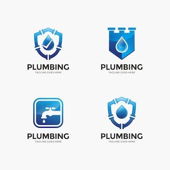 Collection de l'eau et le modèle de conception de logo de plomberie pour votre entreprise