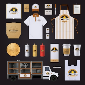 Collection d'échantillons de modèles d'identité d'entreprise identité de chaîne de restaurants de pizza avec des sacs de tablier de polo sur fond noir