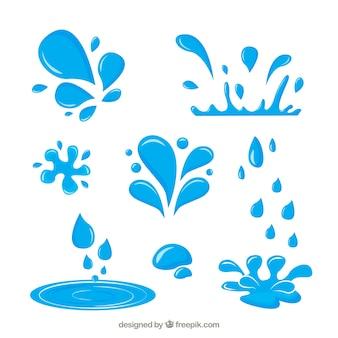 Collection d'éclaboussures d'eau dans le style plat