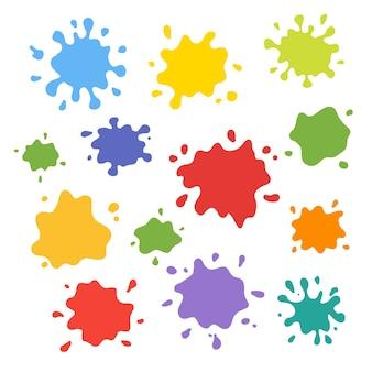 Collection d'éclaboussures de peinture. jeu de coups de pinceau vectorielles. isolé sur fond blanc. elément pour vos créations, projets, ventes promotionnelles et autres vos projets