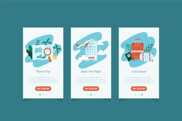 Collection d'écrans d'application d'intégration de voyage