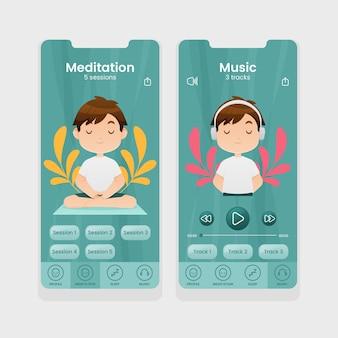 Collection d'écrans d'application de méditation