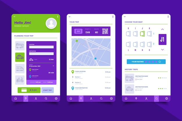 Collection d'écrans d'application de transport public