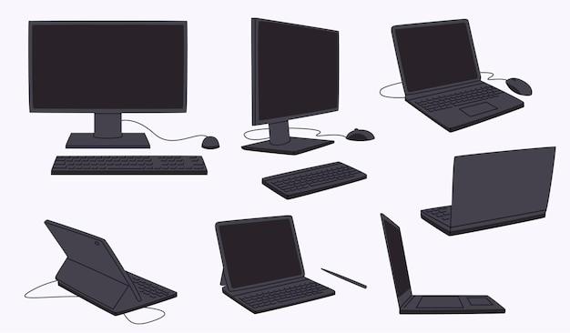Collection d'écrans d'ordinateur et d'ordinateurs portables en dessin animé