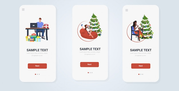 Collection d'écrans de smartphone de célébration de noël