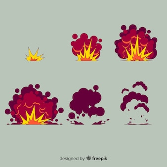 Collection d'effet d'explosion de bande dessinée dessinée à la main