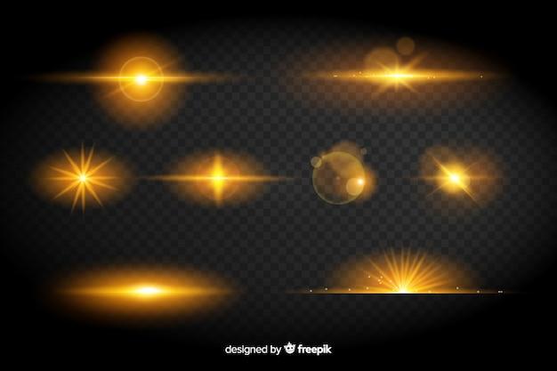 Collection d'effet de lumières jaunes