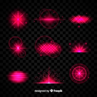 Collection d'effets de lumière rose sur fond transparent