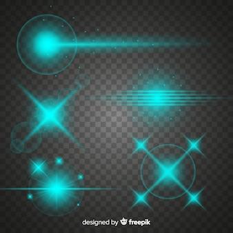 Collection d'effets de lumière de technologie turquoise