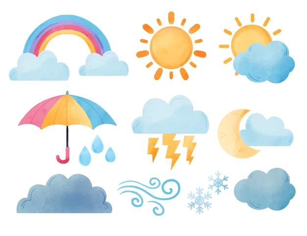 Collection d'effets météo aquarelle