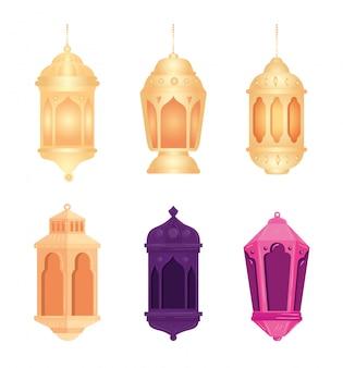 Collection, eid al adha mubarak, décoration de lanternes de couleurs