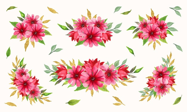 Collection élégante d'arrangements floraux rouges et roses avec aquarelle
