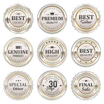 Collection élégante de badges et étiquettes blancs argentés
