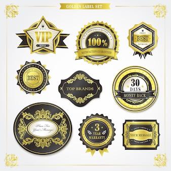 Collection élégante d'étiquettes dorées de qualité supérieure sur blanc