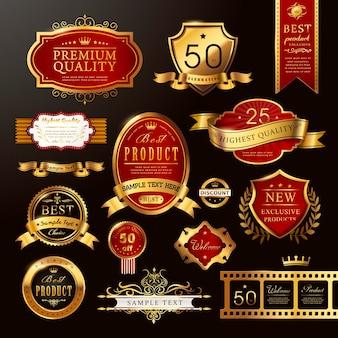 Collection élégante d'étiquettes dorées de qualité supérieure sur noir