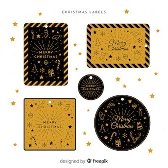 Collection élégante d'insignes de noël noir et or