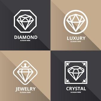 Collection élégante de logo en diamant