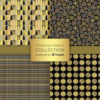 Collection élégante de motifs de noël noir et or