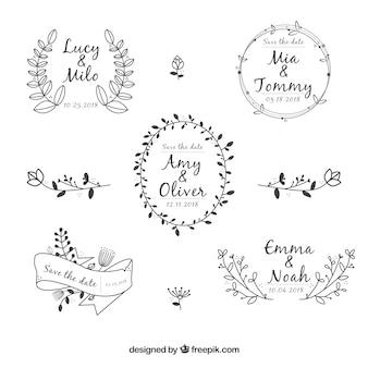 Collection élégante d'ornement de mariage floral