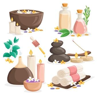 Collection d'élément d'aromathérapie dessiné à la main