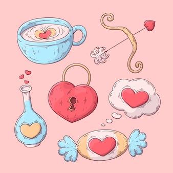 Collection d'élément de la saint-valentin dessiné à la main