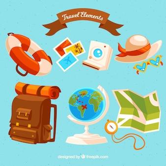 Collection d'élément de voyage