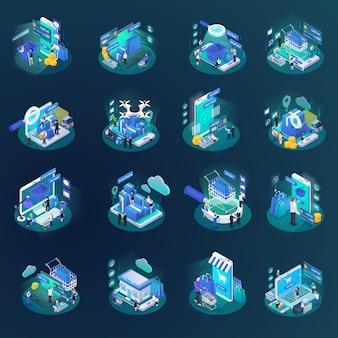 Collection d'éléments d'achat en ligne isométrique