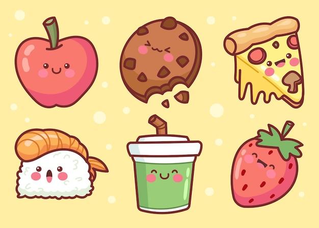 Collection d'éléments alimentaires dessinés à la main