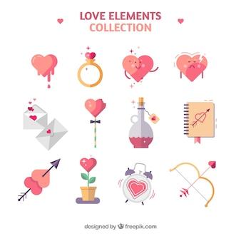 Collection d'éléments d'amour avec un design plat