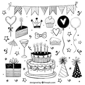 Collection d'éléments d'anniversaire dans un style dessiné à la main