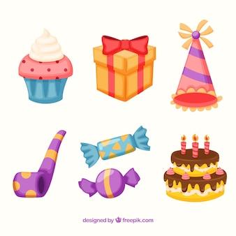 Collection d'éléments d'anniversaire dans un style plat
