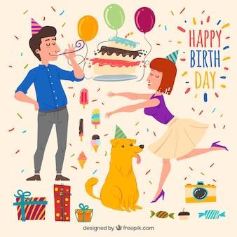 Collection d'éléments d'anniversaire avec style dessiné à la main