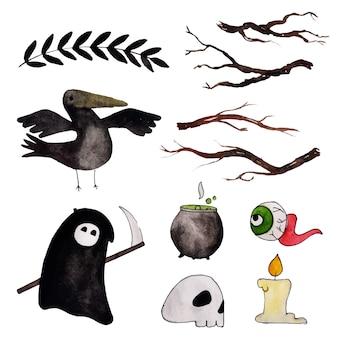 Collection d'éléments aquarelle halloween