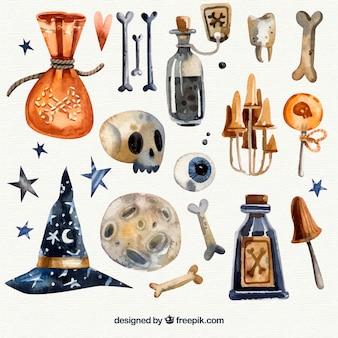 Collection d'éléments d'aquarelle halloween