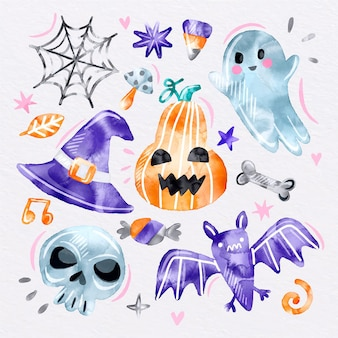 Collection d'éléments aquarelle halloween