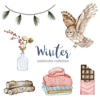 Collection d'éléments d'aquarelle d'hiver