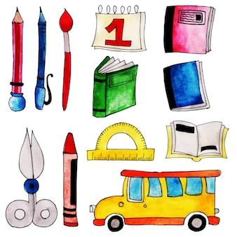 Collection d'éléments aquarelle de retour à l'école