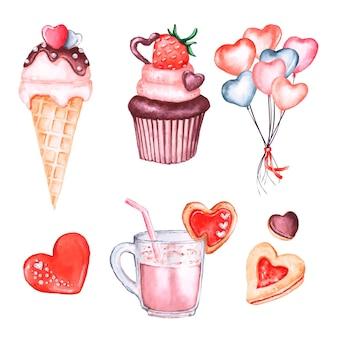 Collection d'éléments aquarelle saint valentin avec des desserts