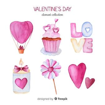 Collection d'éléments d'aquarelle saint valentin