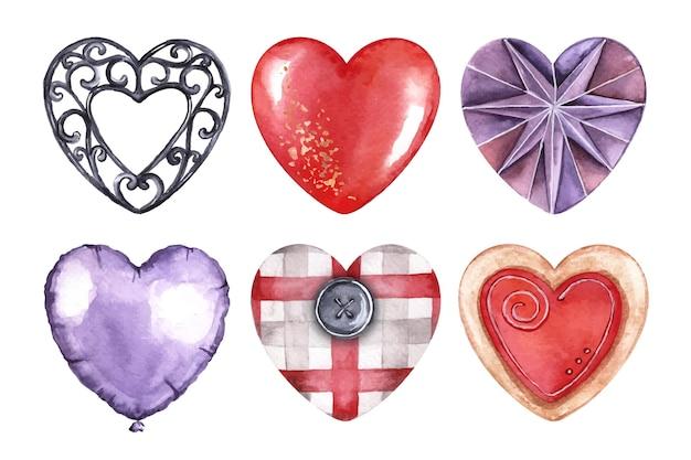 Collection d'éléments aquarelle saint valentin