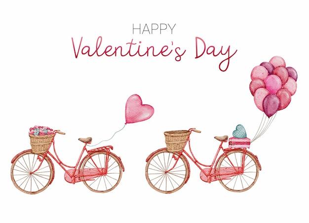 Collection d'éléments aquarelle valentine bike