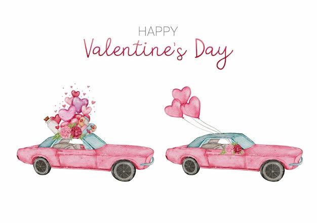 Collection d'éléments aquarelle valentine car