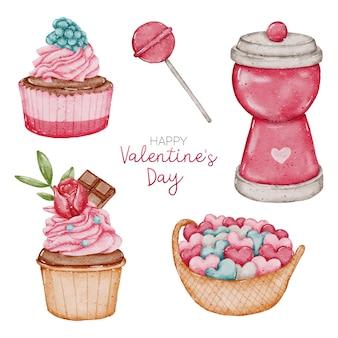 Collection d'éléments aquarelle valentine