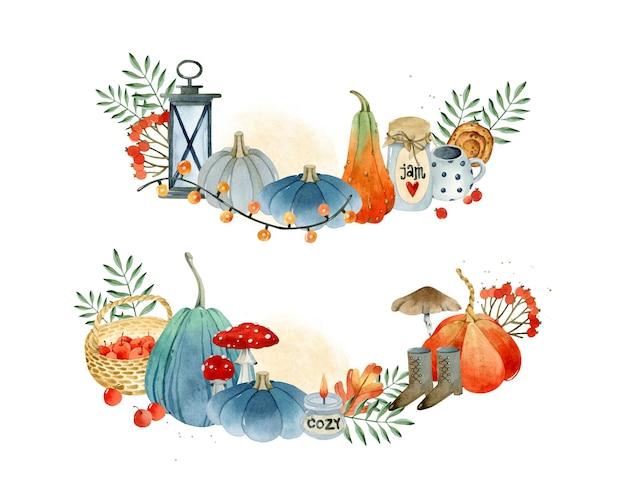 Collection d'éléments aquarelles de composition de récolte
