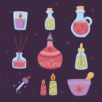 Collection d'éléments d'aromathérapie design plat