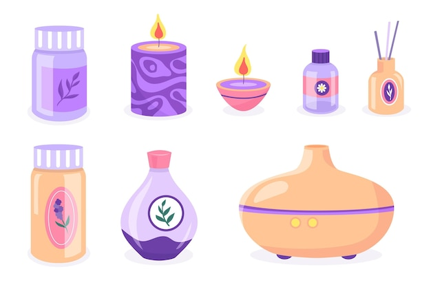 Collection d'éléments d'aromathérapie dessinés à la main