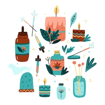Collection d'éléments d'aromathérapie