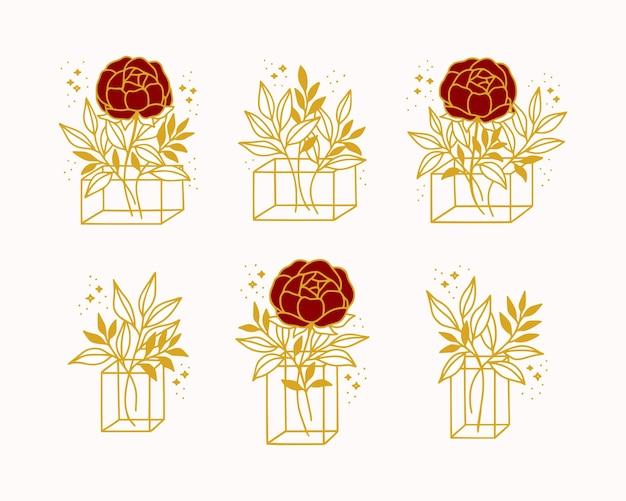 Collection d'éléments d'art en ligne de fleur rose botanique dessinés à la main, branche de feuille, vase et boîte-cadeau