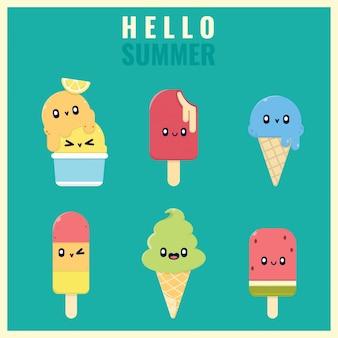Collection d'éléments d'autocollants de crème glacée d'été kawaii
